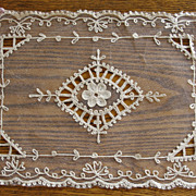 Set of 4 Delicate Antique Tambour Net Lace Placemats Never Used