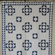 Antique Indigo Blue Delectable Mountains Quilt an 1880s Stunner!