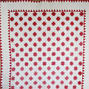 SOLD Antique Red White Stars QUILT Mid to Late 19th Century