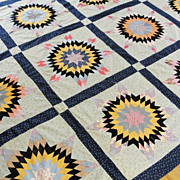 c1920 Indigo Blue ++ Starburst QUILT TOP Handpieced