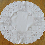 Stunning Figural Lace Linen Tablecloth  Acorns Hunting Animals