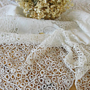 Cantu Bobbin Figural Lace Banquet Tablecloth Antique c1910 Estate