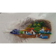 Unique Original Costa Rica Feather Painting Village Scene