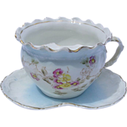 Antique Victorian Mustache Cup with Matching Saucer