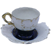 REDUCED Antique Flowing Blue / Flo Blu Demitasse Cup and Saucer