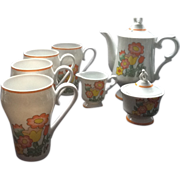 "REDUCED Vintage Retro 70""s Flower Power  Coffee Set with Matching Mugs"