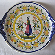 HENRIOT QUIMPER Round Handled Platter Bretonne Woman 11 3/4 inch