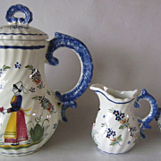 HENRIOT QUIMPER France Swirl Coffee Pot, Teapot, Creamer & Sugar Bowl Set
