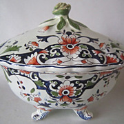 Vintage ROUEN Faience France Footed Covered Bowl, Tureen
