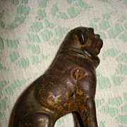 Antique cast dog still bank