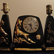 Sessions Gazelle Clock With Two Matching Lamps