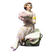 German Ceramic Flapper Girl Tape Measure