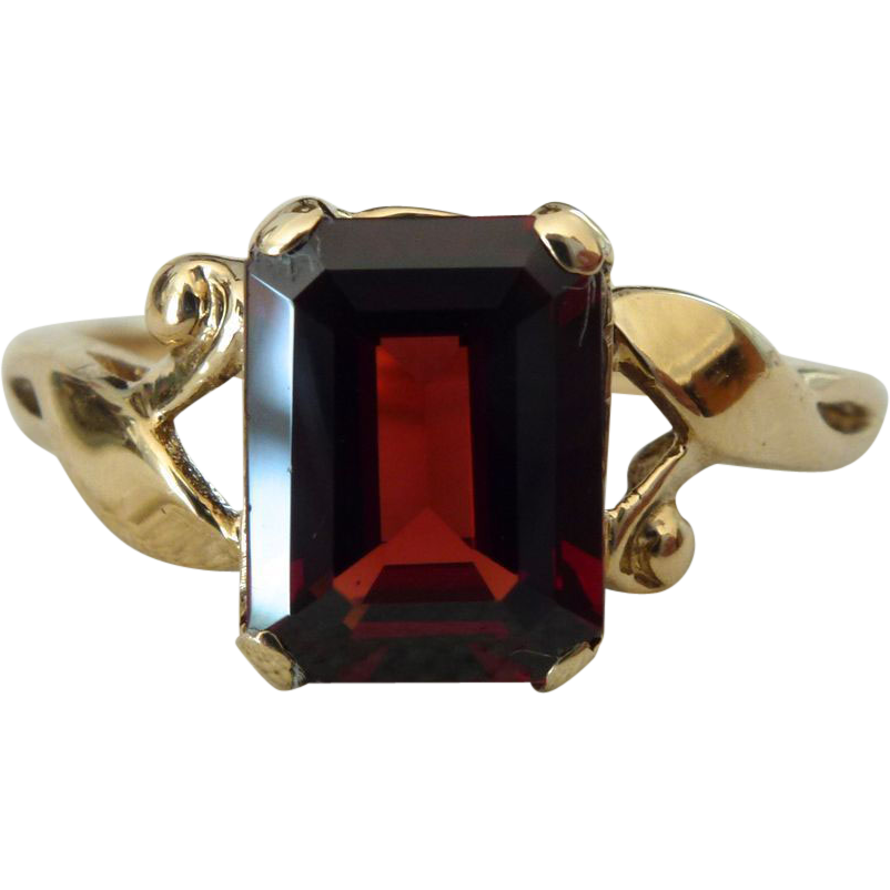 Ruby Ring Emerald Cut Ruby Ring Yellow Gold