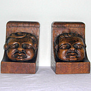 Pair of Victorian Carved Oak Bookends with Face Mask Detail
