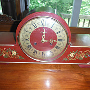 Art Deco Mantle Clock F. Mauthe German Hand Painted 3 Rod Strike