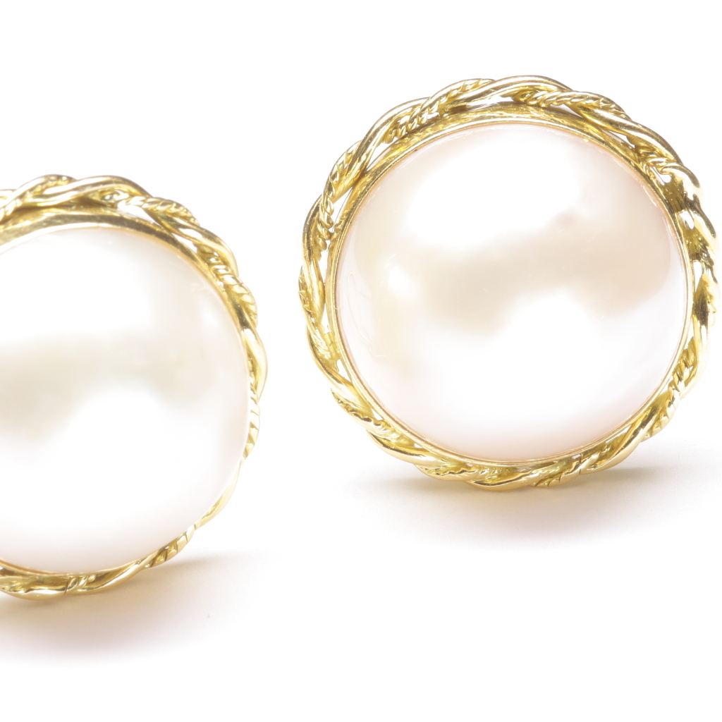 mabe cultured pearl earrings c 1980 from