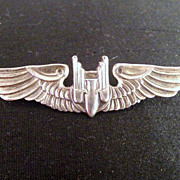 WWII US Army Air Force � Aerial Gunner badge Wings Sterling Silver