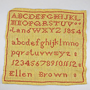Antique Sampler Needlework Dated 1854 By Ellen Brown