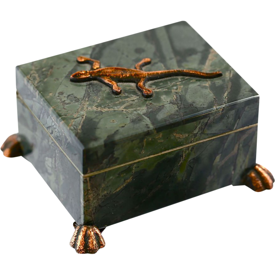 russian natural green stone trinket box with bronze lizard. Black Bedroom Furniture Sets. Home Design Ideas