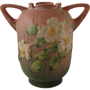 Roseville Pottery White Rose Pink Vase No. 979-6