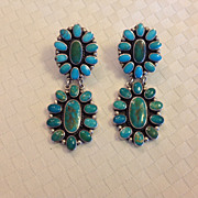 SOLD 3inch Long Dangle Cabochon Turquoise Earrings Marked JF Sterling