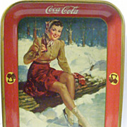 Coca Cola1941 Ice Skating Girl Serving Tray