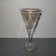Antique Handpainted Gold Arabesque Wine Glass