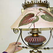 Antique Cranberry Amber Opalescent Floral Hanging Lamp