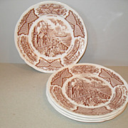 "Meakin Staffordshire Fair Winds USS Constitution 7"" Plates (4)"