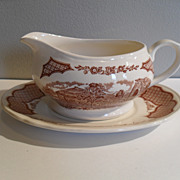 Meakin Fair Winds Staffordshire Gravy Boat and Underplate