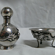 Chinese Export Silver Open Salt and Pepper