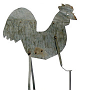 Folky Metal Rooster Weather Vane: 40's-50's, Midwest