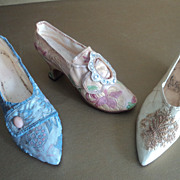 SOLD 3 Miniature Collectible Historical Women's Shoes -Raine