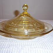 Fostoria Fairfax Topaz Round Butter Dish with Lid