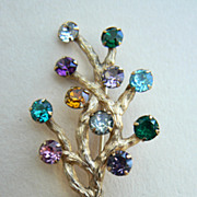 Retro 40's MINT signed Van Dell 12K gold filled tree pin brooch with rhinestones