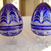 Pair of Bohemian Cobalt Lead Crystal Cut to Clear Pedestal Bowls with Covers