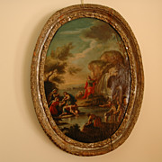 �Moses Striking the Rock� oil on canvas in oval mid-18th century carved silver gilt ...