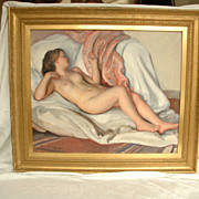 Oil on Canvas of Reclining Nude by Maurice Ambroise Ehlinger (French)