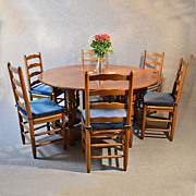 5' Oak Kitchen Dining Farmhouse Gate Leg Round Table & 6 Chairs Art Deco c1940