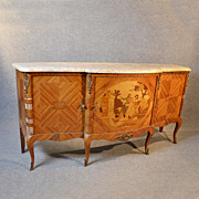 French Sideboard Dresser Art Deco Marble Top Walnut Breakfront Cabinet c1930