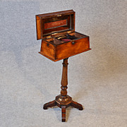Antique Tea Poy Caddy on Rosewood Stand English Regency c1820