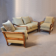 Antique Lounge Suite Edwardian Three Piece Sofa & Chairs Deep Seated Club c1910