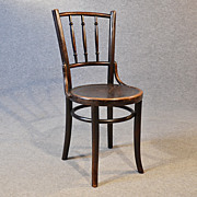 Art Deco Bentwood Kitchen Dining Cafe Chair Embossed Seat Mundus & Kohn c1930