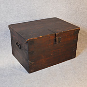 Antique Coffee Table Blanket Chest Trunk Victorian Railway Mail Strong Box c1880