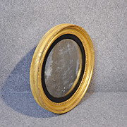 Antique Convex Wall Mirror Regency English Circular Round Looking Glass c1820