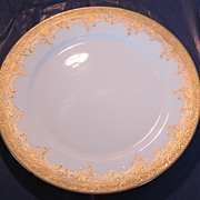 William Guerin Limoges 10 5/8 inch White Plate with Raised Gold Trim
