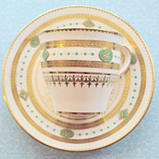 Minton Demitasse Teacup with Mint Green Enamel-Very Old-Some Damage & Wear
