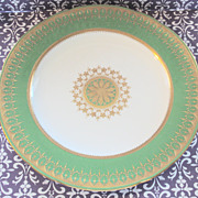 White and Green Gold Encrusted Minton Plate with Raised Gold Details