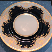 Ornate Black Knight Plate with Raised Gold Trim in the Regina Pattern