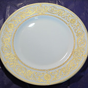 Royal Worcester White Dinner Plate with Raised Gold Design in Hyde Park